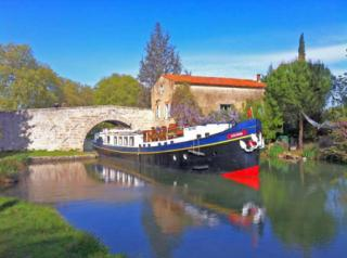 Barge cruising along the canals of France