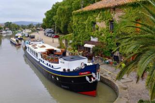 Barge moored in the south of France