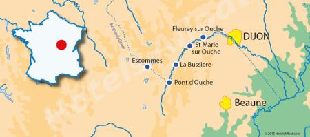 From Dijon to Escommes map