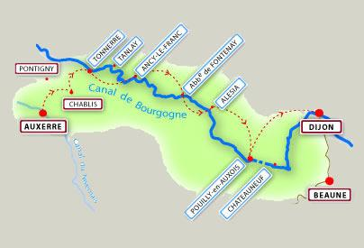 Tanlay to Montbard map