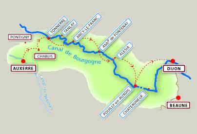 Montbard to Tonnerre map