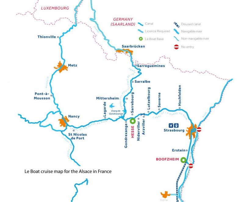 Le Boat Alsace map