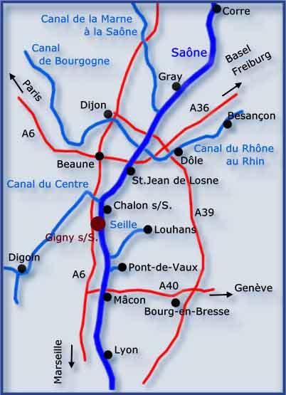 Saone Bateaux Southern Burgundy map