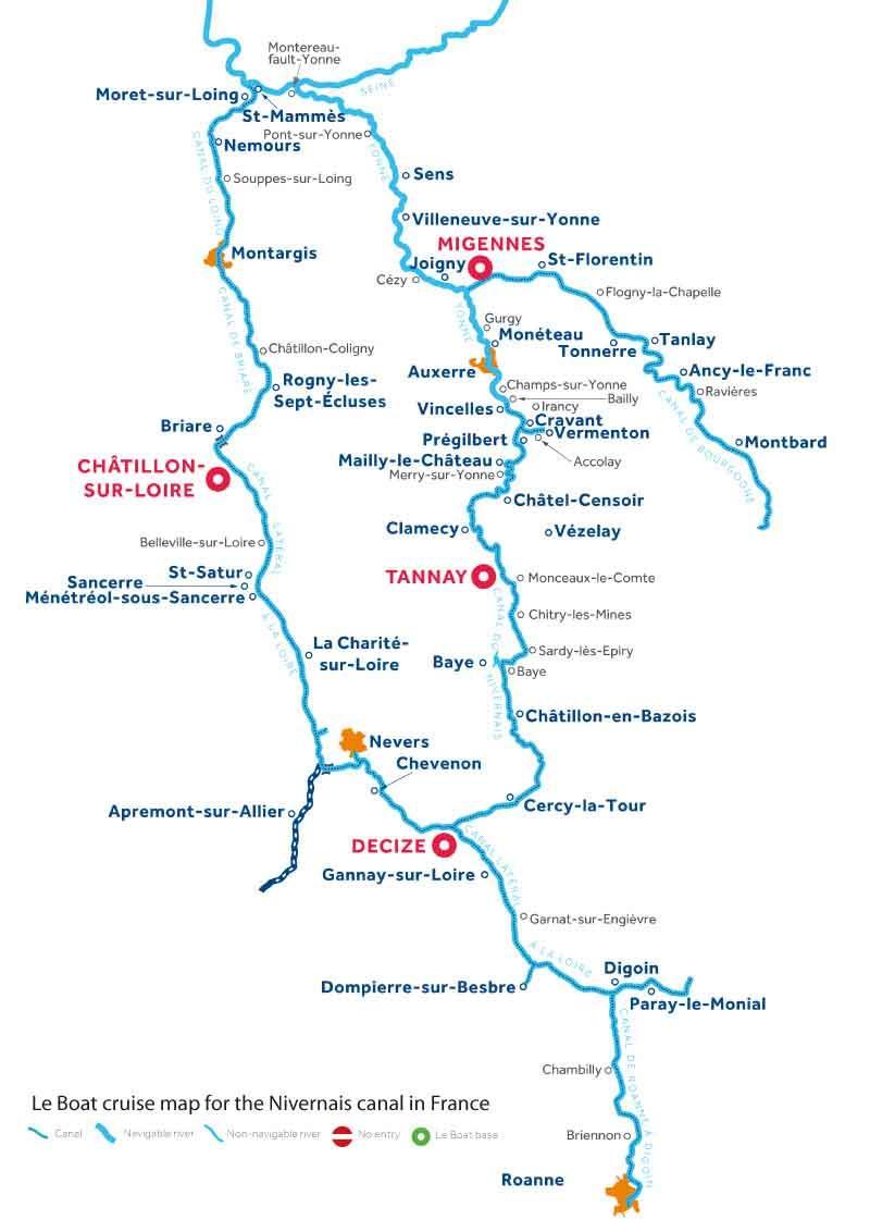 Le Boat Nivernais map