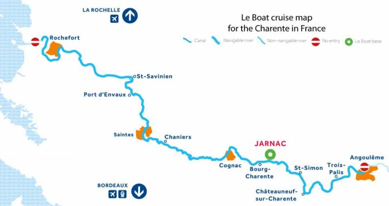 Le Boat Charente map
