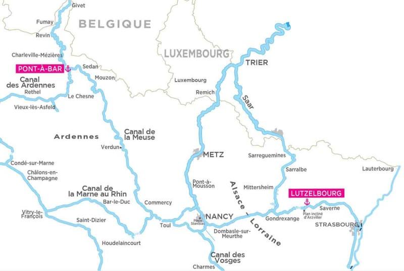 Locaboat Alsace-Lorraine map