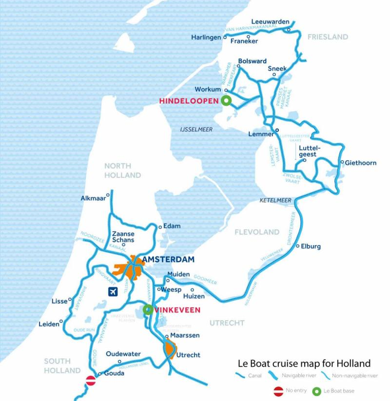 Le Boat Holland map