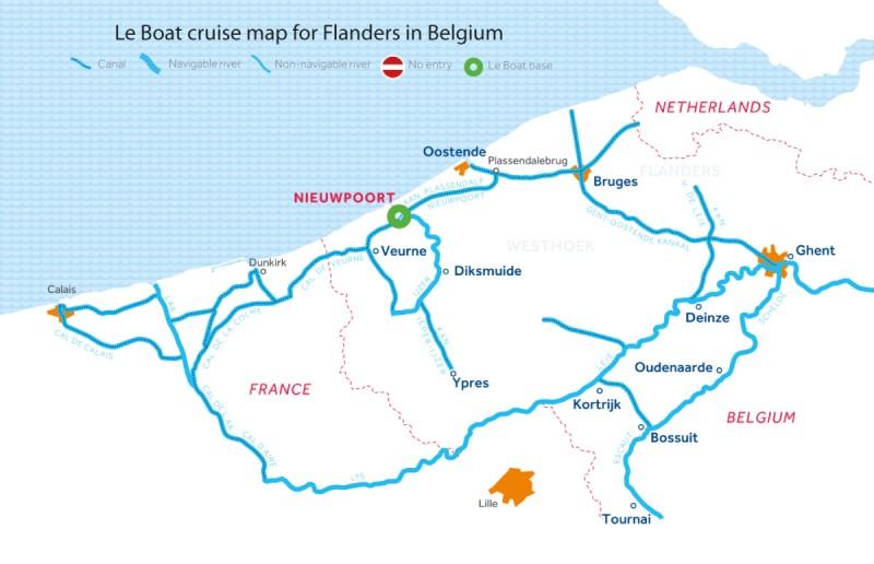 Le Boat Belgium map