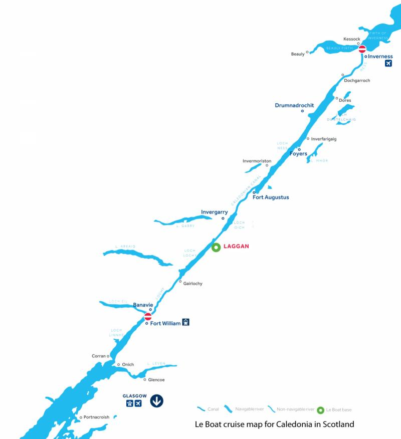 Le Boat Caledonian Canal map