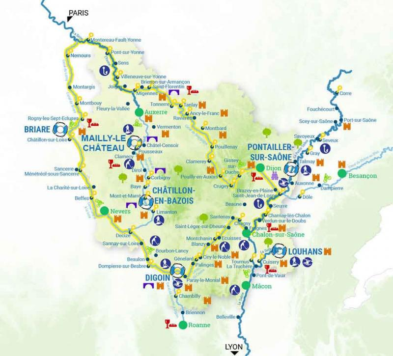 France Passion Plaisance The Loire canal & Briare canal map