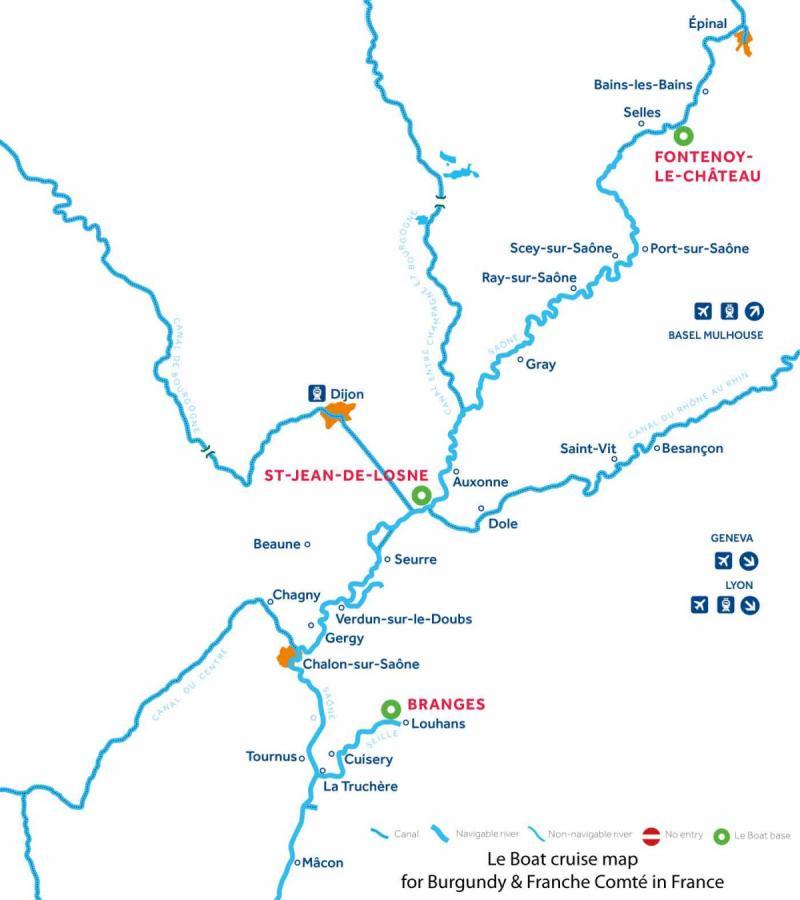 Le Boat Burgundy, Franche-Comte, Vosges map
