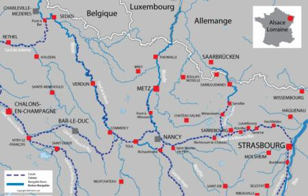 Canal and river map for  Alsace