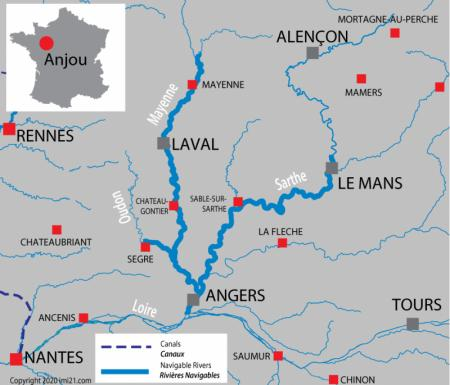 Canal and river map for  Anjou