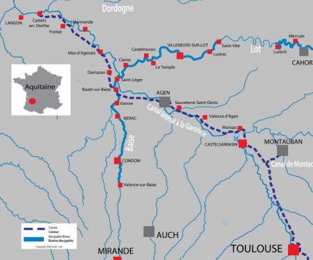 Canal and river map for  Aquitaine & Bordeaux