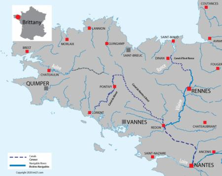 Canal and river map for  Brittany