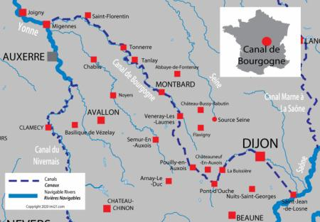 Canal and river map for  Burgundy Canal