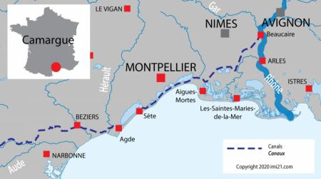 Canal and river map for  Camargue