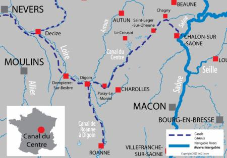 Canal and river map for  Central Canal