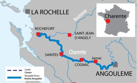 Canal and river map for  Charente