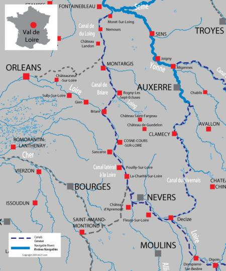 Canal and river map for  Loire Valley