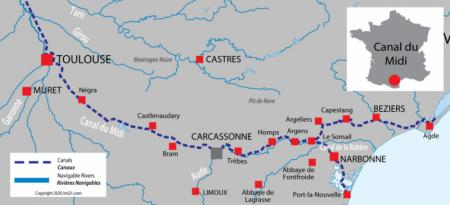 Canal and river map for  Canal du Midi