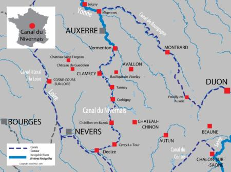 Canal and river map for  Nivernais & River Yonne