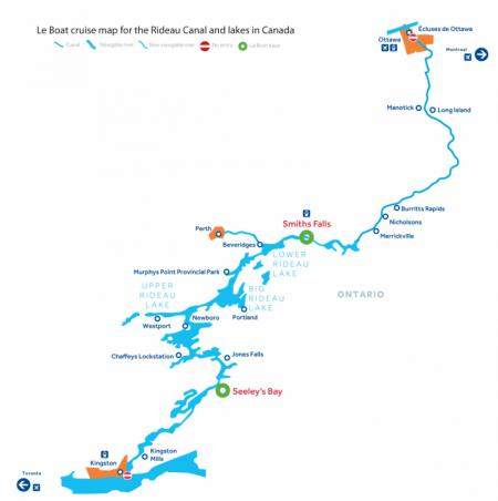 Canal and river map for  Rideau Canal