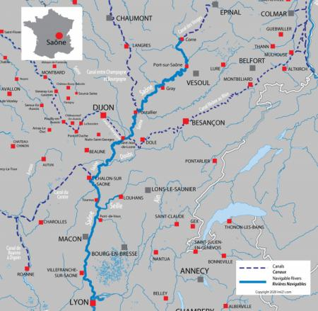 Canal and river map for  River Saône