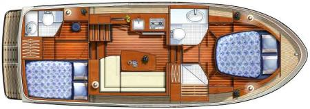 Boat plan France Afloat Linssen 30.9 Aft Cabin France Afloat