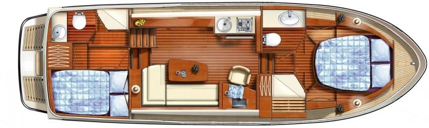 Boat plan of the France Afloat Linssen 34.9 Aft cabin