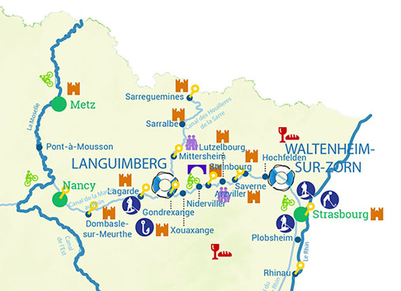 Cruise map of canals and rivers of Alsace