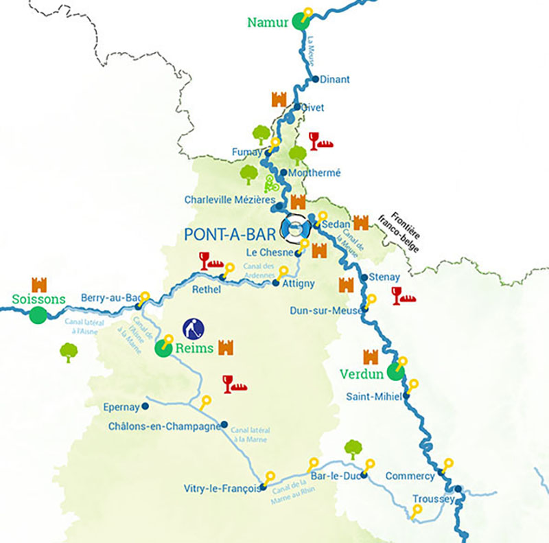 River and canal map for the Ardennes in France