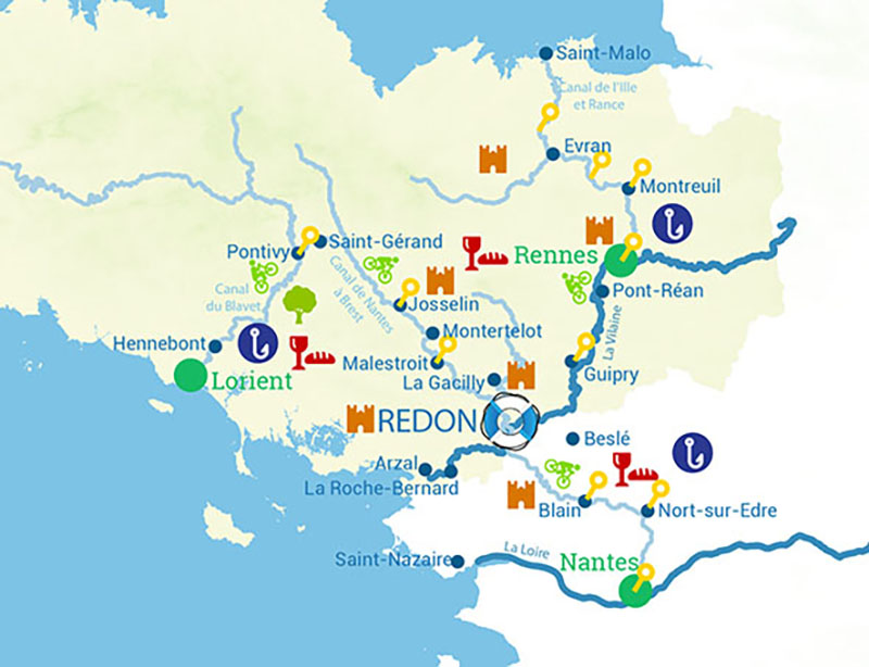 Cruise map the canals and rivers in Brittany