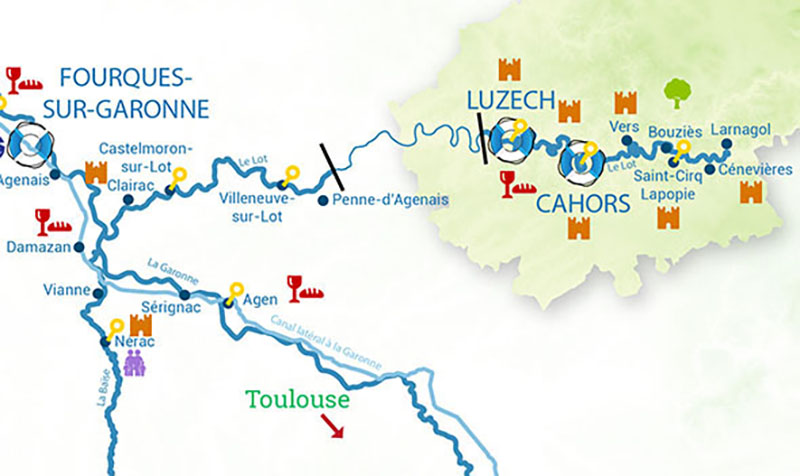 Cruise canal map for the River Lot in France
