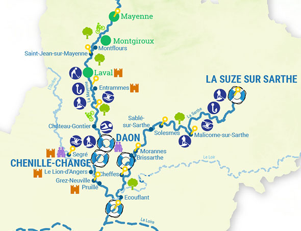 Cruise map the canals and rivers of the Anjou & Loire