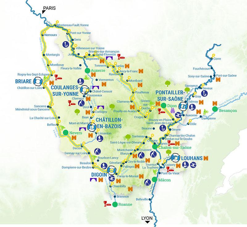 Cruise map the Canal du Nivernais