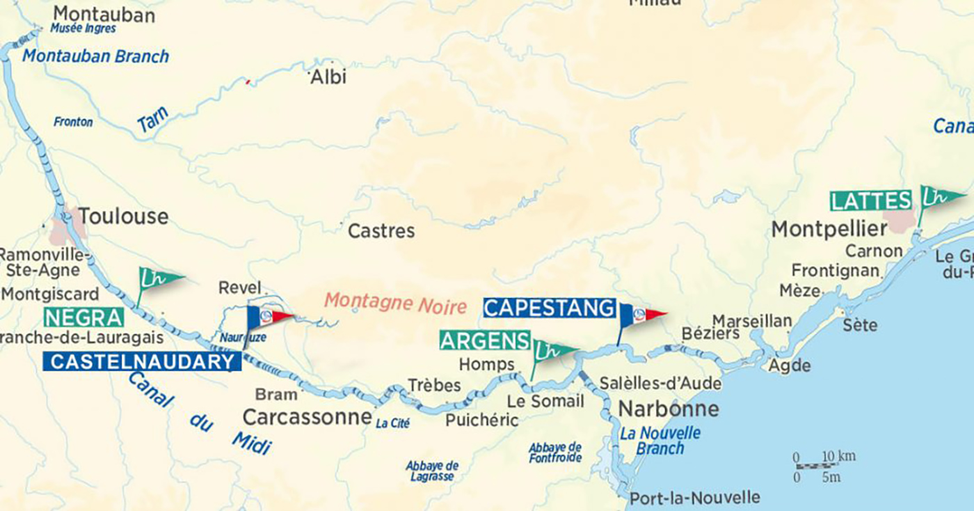 Cruise map of the Carmargue and Canal du Midi routes