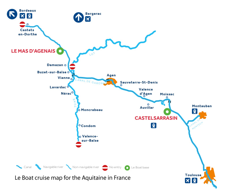 Cruise map of canals and rivers in the Aquitaine