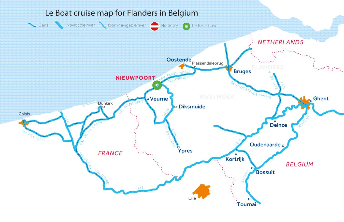Cruise map of the rivers and canals in Flanders, Belgium