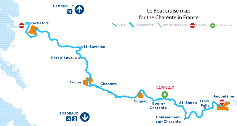 Cruise map of the Charente