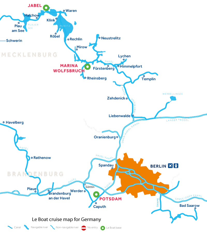 Cruise map of the rivers and canals in Germany