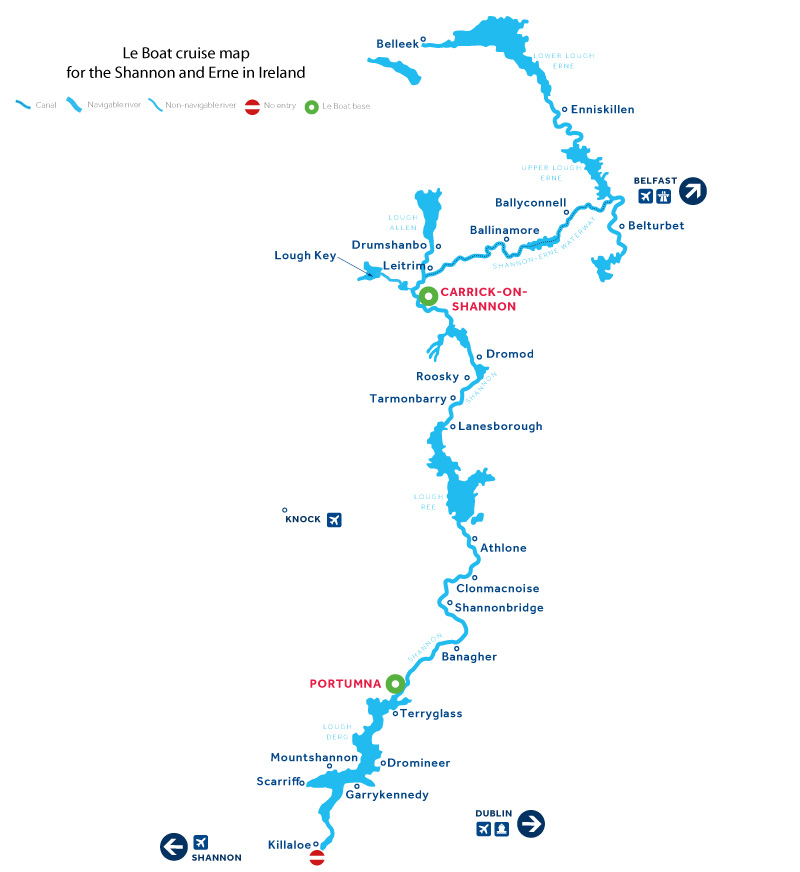 Cruise map of the rivers and canals in Ireland