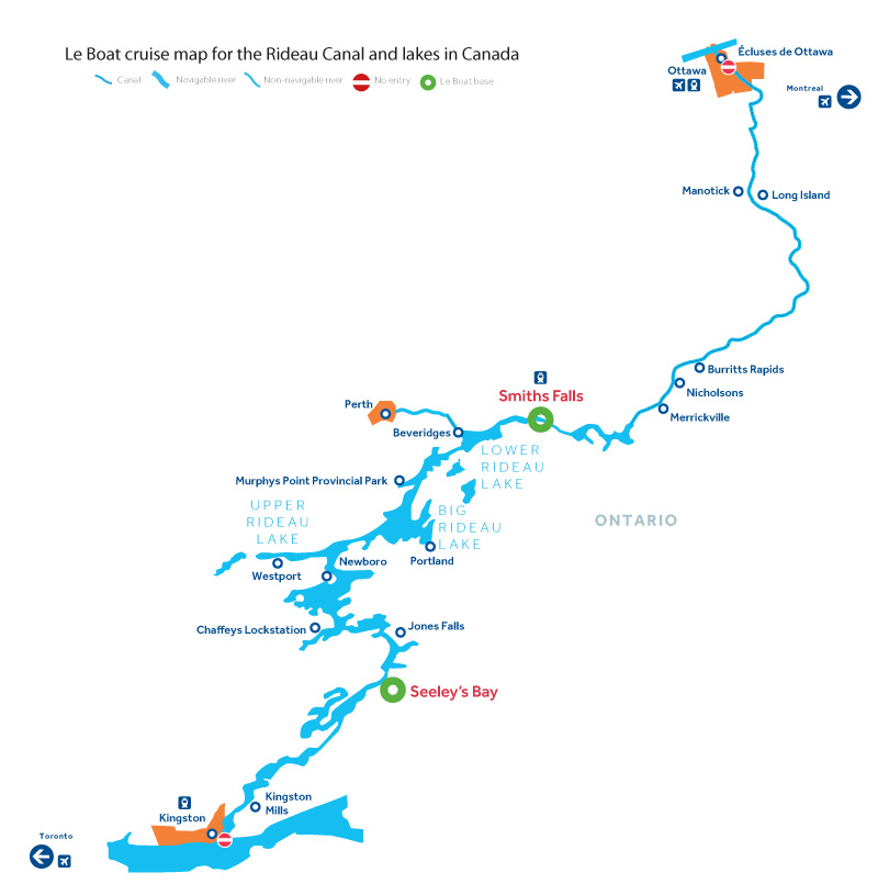 Cruise map of the Rideau Canal