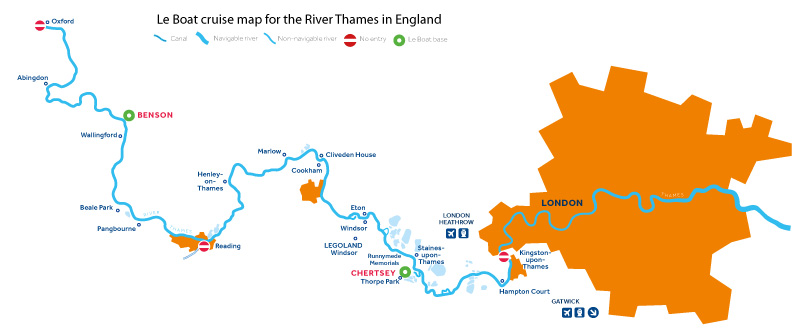 Cruise map of the River Thames, England