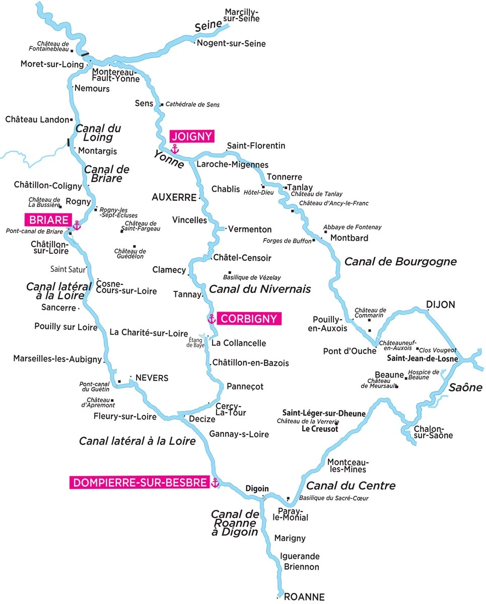 Cruise routes in Burgundy, central France