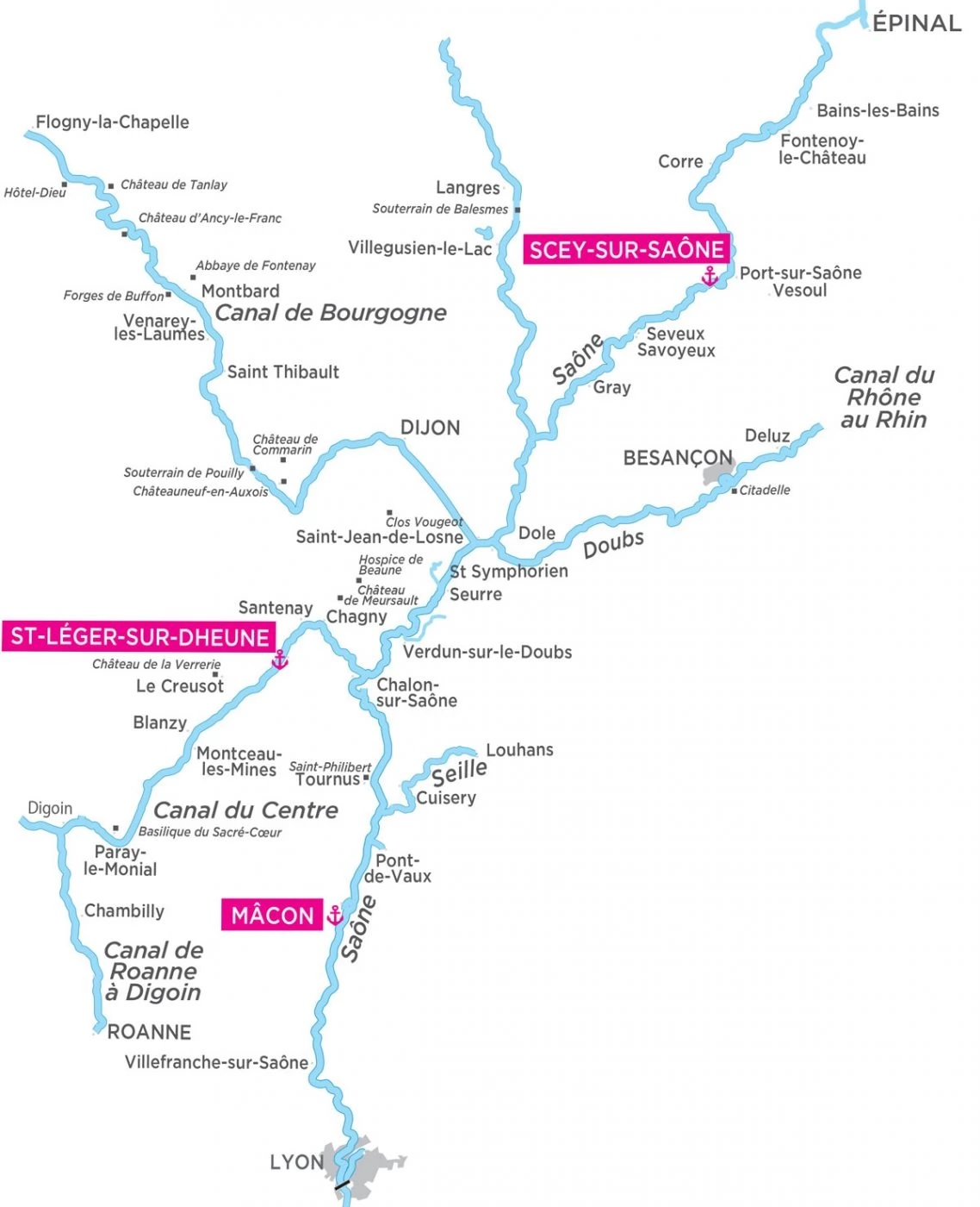 Cruise routes on the River Saône France