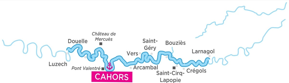 Cruise map for the River Lot in France