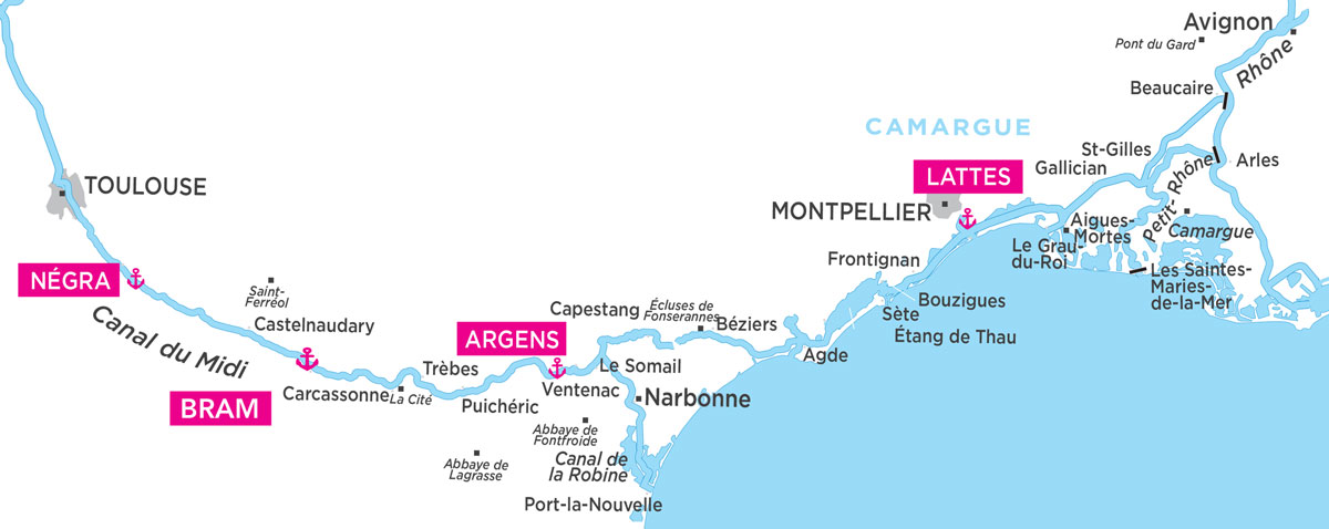 Cruise map for Midi, South of France