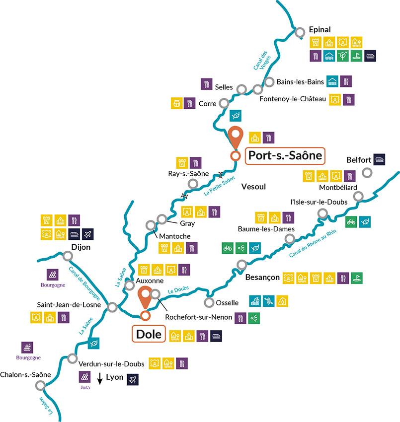 Nicols cruise map Saône river, France