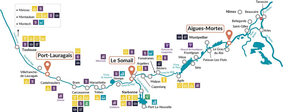 Nicols cruise map Canal du Midi, France